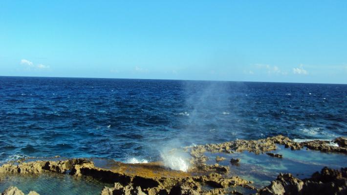 天宁岛神奇喷洞