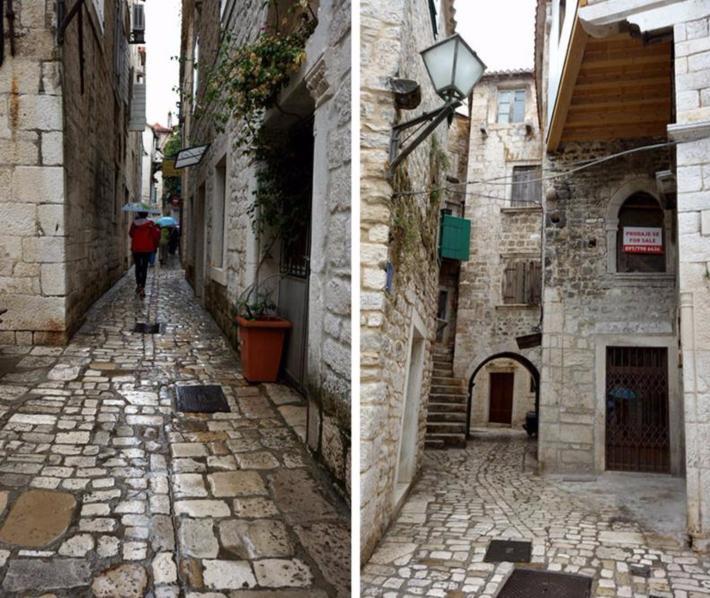 古老的街道纵横交错,小路的石板泛着光