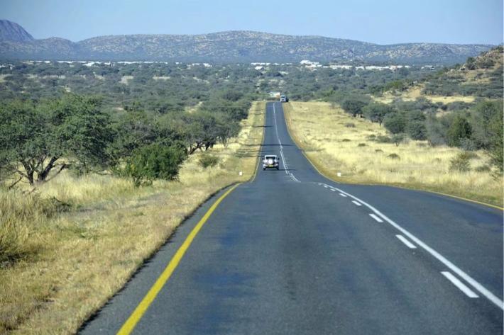 现在是纳米比亚的秋末,地上的草都黄了